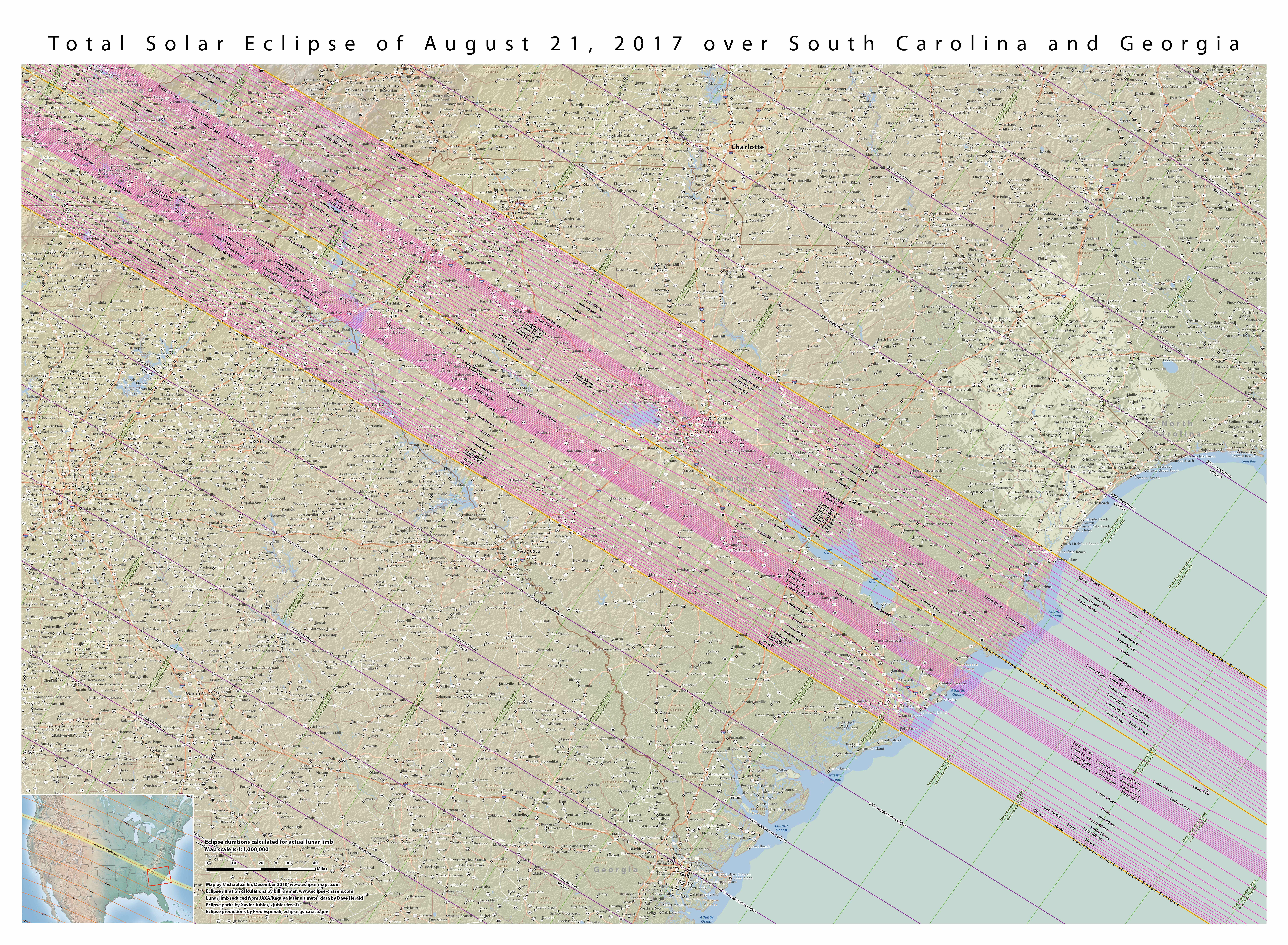 Map 9 Total Solar Eclipse Over South Carolina And Georgia